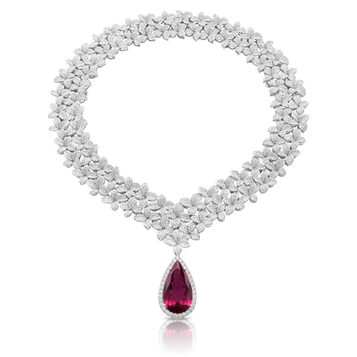 18k White Gold Goddess Garden Necklace with White Diamonds and Rubellite