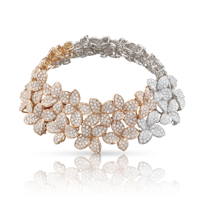 NEW 18k White and Rose Gold Goddess Garden Bracelet with White and Champagne Diamonds