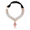 18k White and Rose Gold Goddess Garden Necklace with White and Champagne Diamonds, Morganite and Velvet
