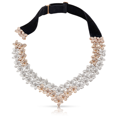 18k White and Rose Gold Goddess Garden Necklace with White and Champagne Diamonds and Velvet Strap