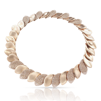 18k Rose Gold Aleluiá Necklace with White and Champagne Diamonds