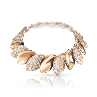 NEW 18k Rose Gold Aleluia' Bracelet with White and Champagne Diamonds