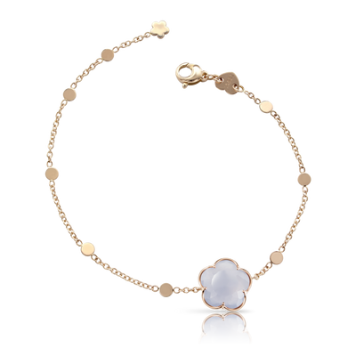 NEW 18k Rose Gold Bon Ton Bracelet with Light Blue Chalcedony