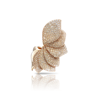 NEW 18k Rose Gold Aleluia' Ring with White and Champagne Diamonds