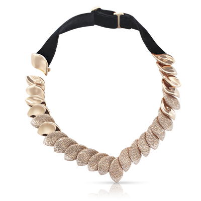 18k Rose Gold and Velvet Aleluiá Necklace with White and Champagne Diamonds