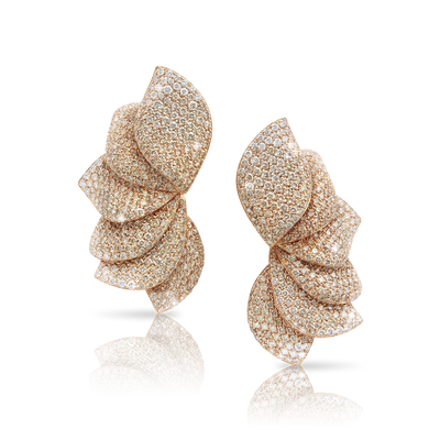 NEW 18k Rose Gold Aleluia' Earrings with White and Champagne Diamonds
