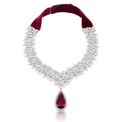 18k White Gold Goddess Garden Necklace with White Diamonds, Rubellite and Velvet Strap