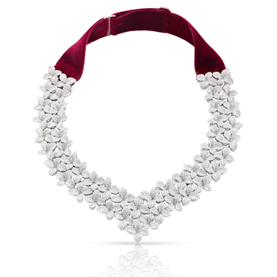 18k White Gold Goddess Garden Necklace with White Diamonds and Velvet Strap