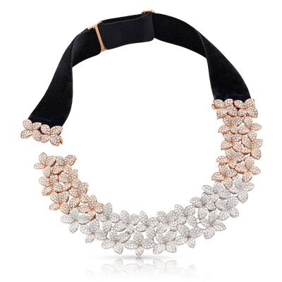 18k White and Rose Gold Goddess Garden Necklace with White and Champagne Diamonds