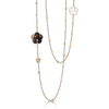 18k Rose Gold Bon Ton Necklace with Smoky Quartz, Milky Quartz and Diamonds