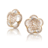 NEW 18k Rose Gold Bon Ton Earrings with Rock Crystal and Diamonds