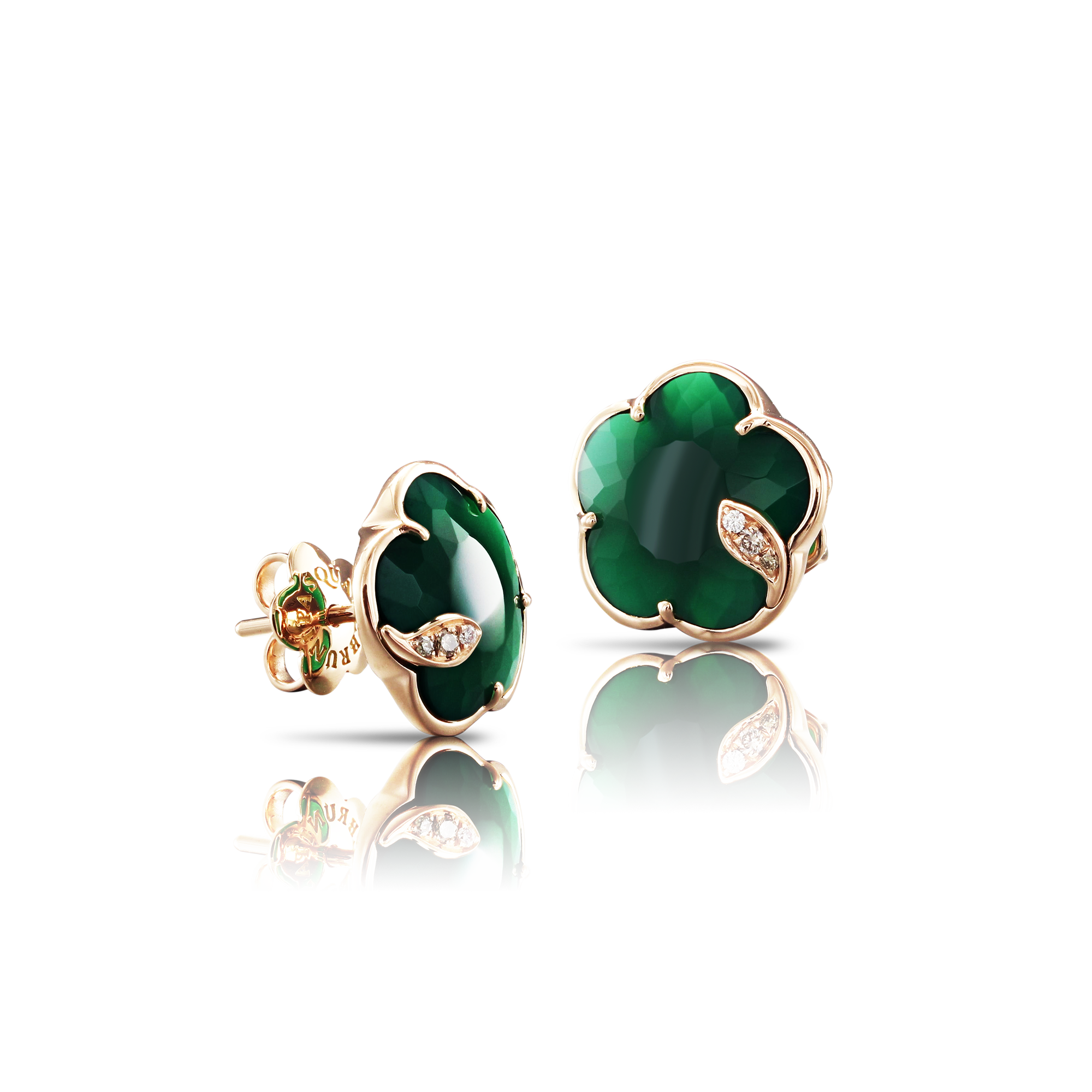 NEW 18k Rose Gold Petit Joli Earrings with Green Agate, White and Champagne Diamonds