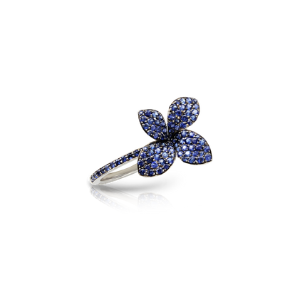 NEW 18k White Gold Petit Garden Ring with Blue Sapphires
