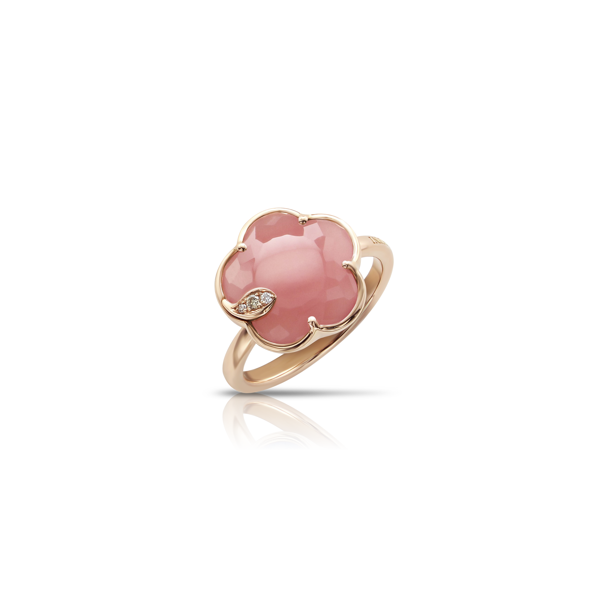NEW 18k Rose Gold Petit Joli Ring with Pink Chalcedony, White and Champagne Diamonds