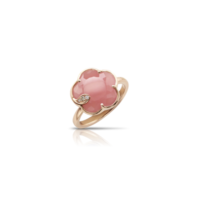 Rose gold ring with pink chalcedony and diamonds