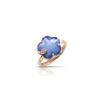 NEW 18k Rose Gold Petit Joli Ring with White Agate and Lapis Lazuli Doublet, White and Champagne Diamonds