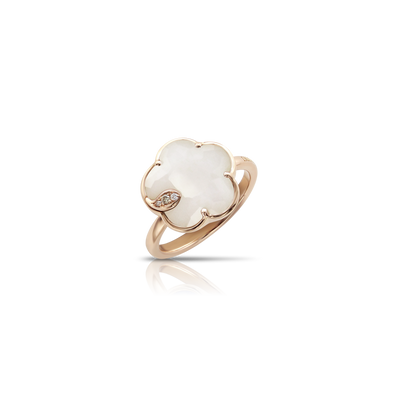 NEW 18k Rose Gold Petit Joli Ring with White Agate, White and Champagne Diamonds