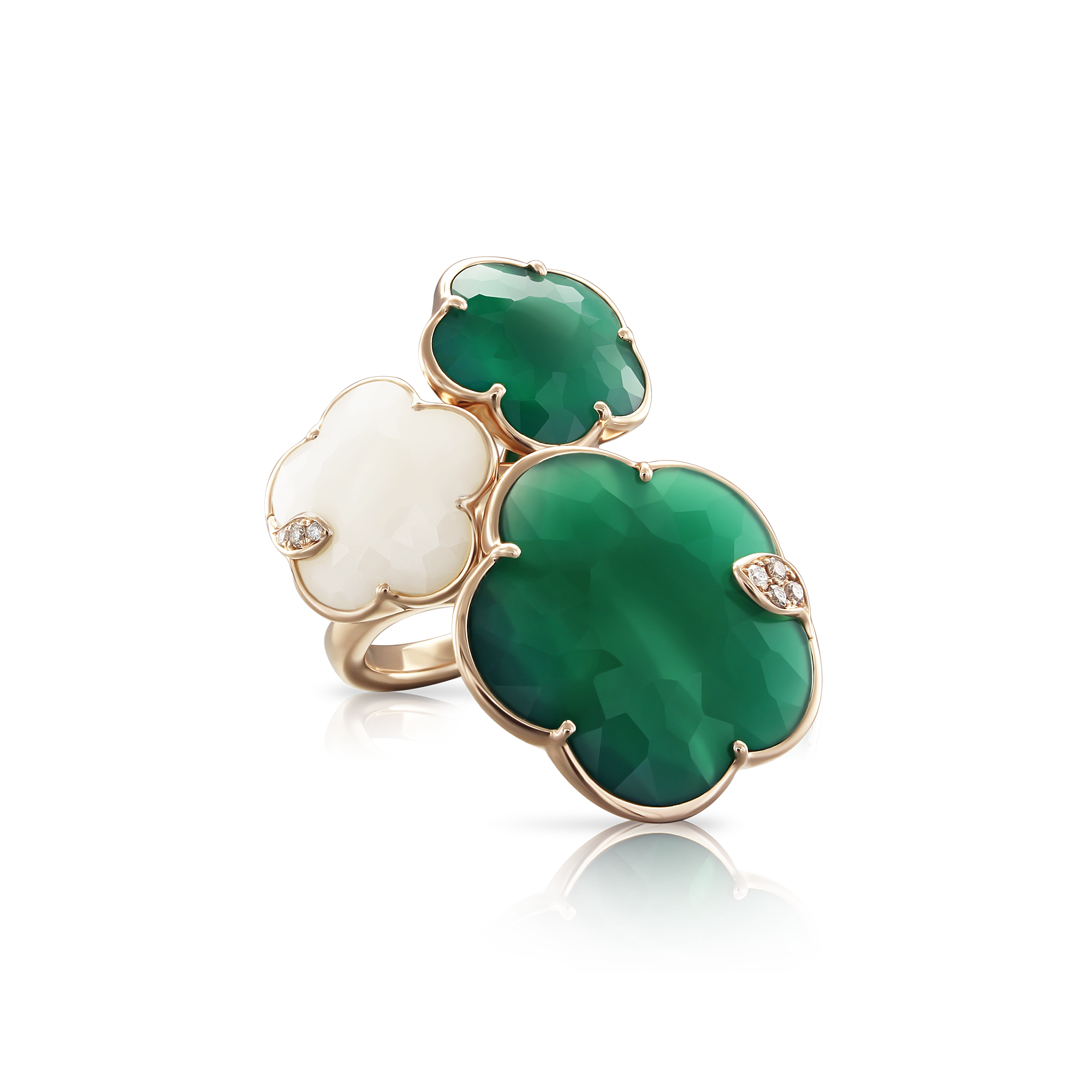 18k Rose Gold Ton Joli Ring with White Agate, Green Agate, White and Champagne Diamonds