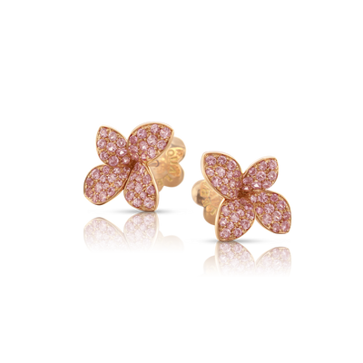 NEW 18k Rose Gold Petit Garden Earrings with Pink Sapphires