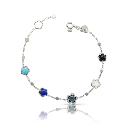 18k White Gold Figlia dei Fiori Bracelet with Moonstone, Lapis Lazuli, Turquoise, London Blue Topaz, Onyx and Diamonds