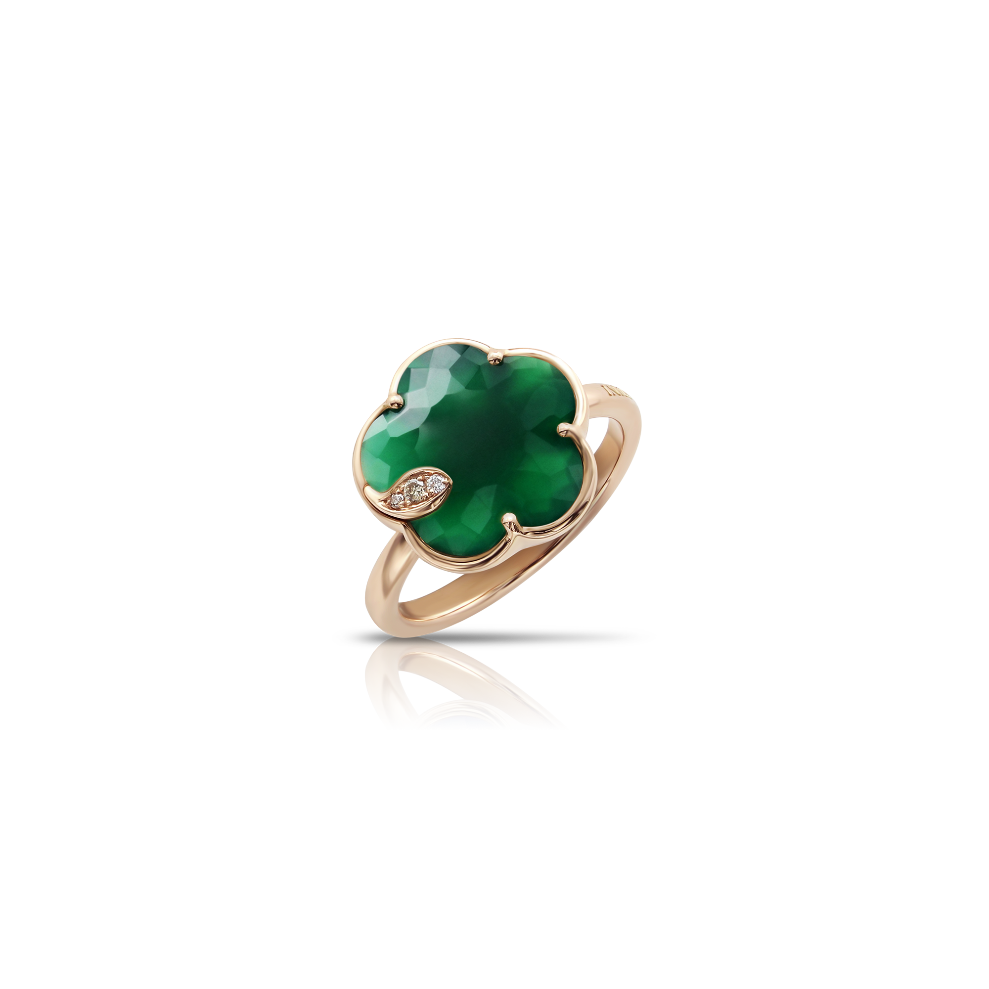 18k Rose Gold Petit Joli Ring with Green Agate, White and Champagne Diamonds