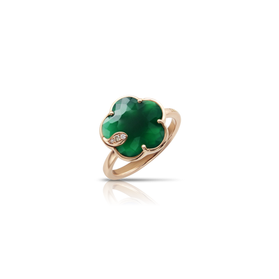 Rose gold ring with green agate and diamonds