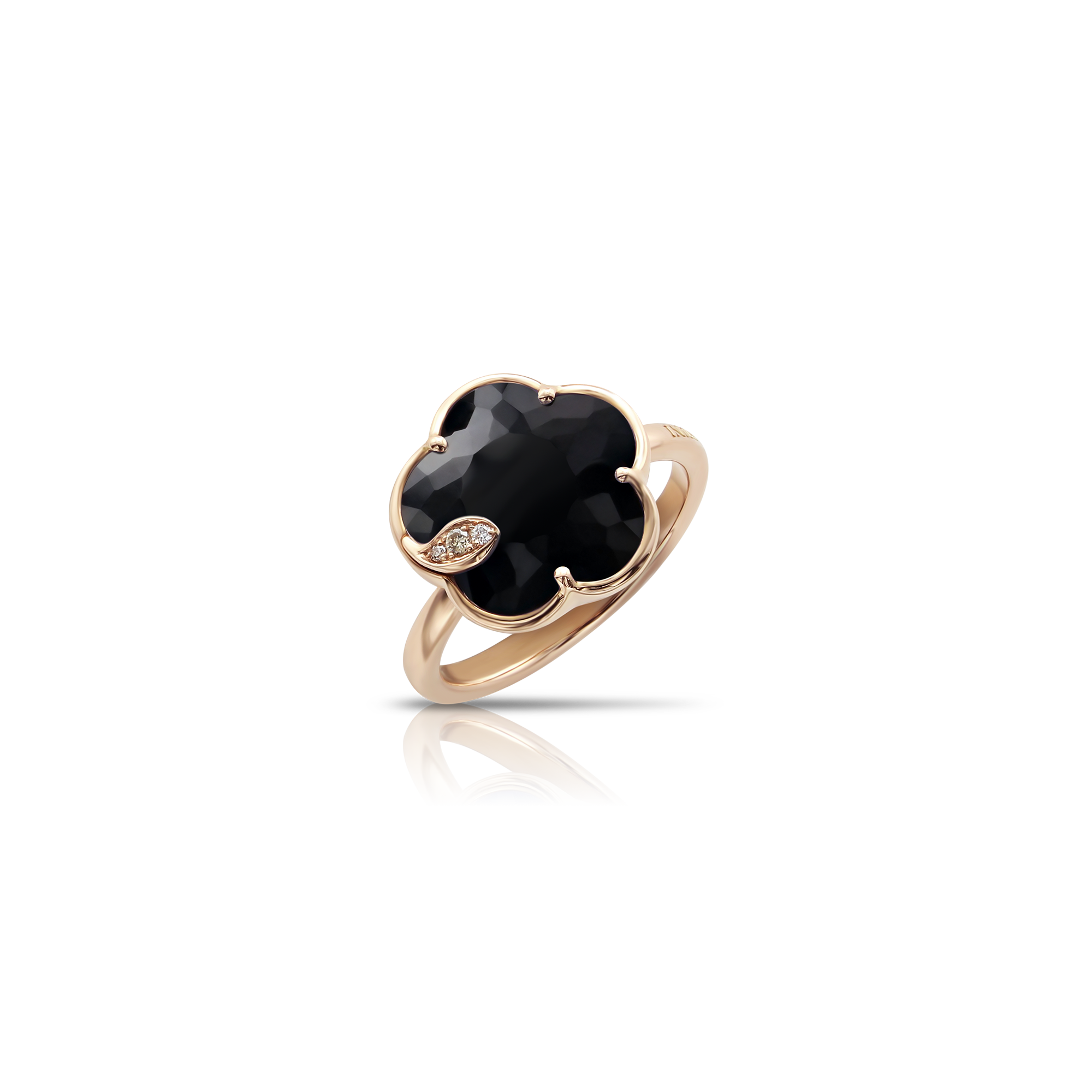 NEW 18k Rose Gold Petit Joli Ring with Onyx, White and Champagne Diamonds