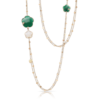 18k Rose Gold Ton Joli Necklace with White Agate, Green Agate, White and Champagne Diamonds