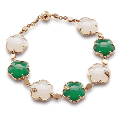 18k Rose Gold Ton Joli Bracelet with White Agate, Green Agate, White and Champagne Diamonds
