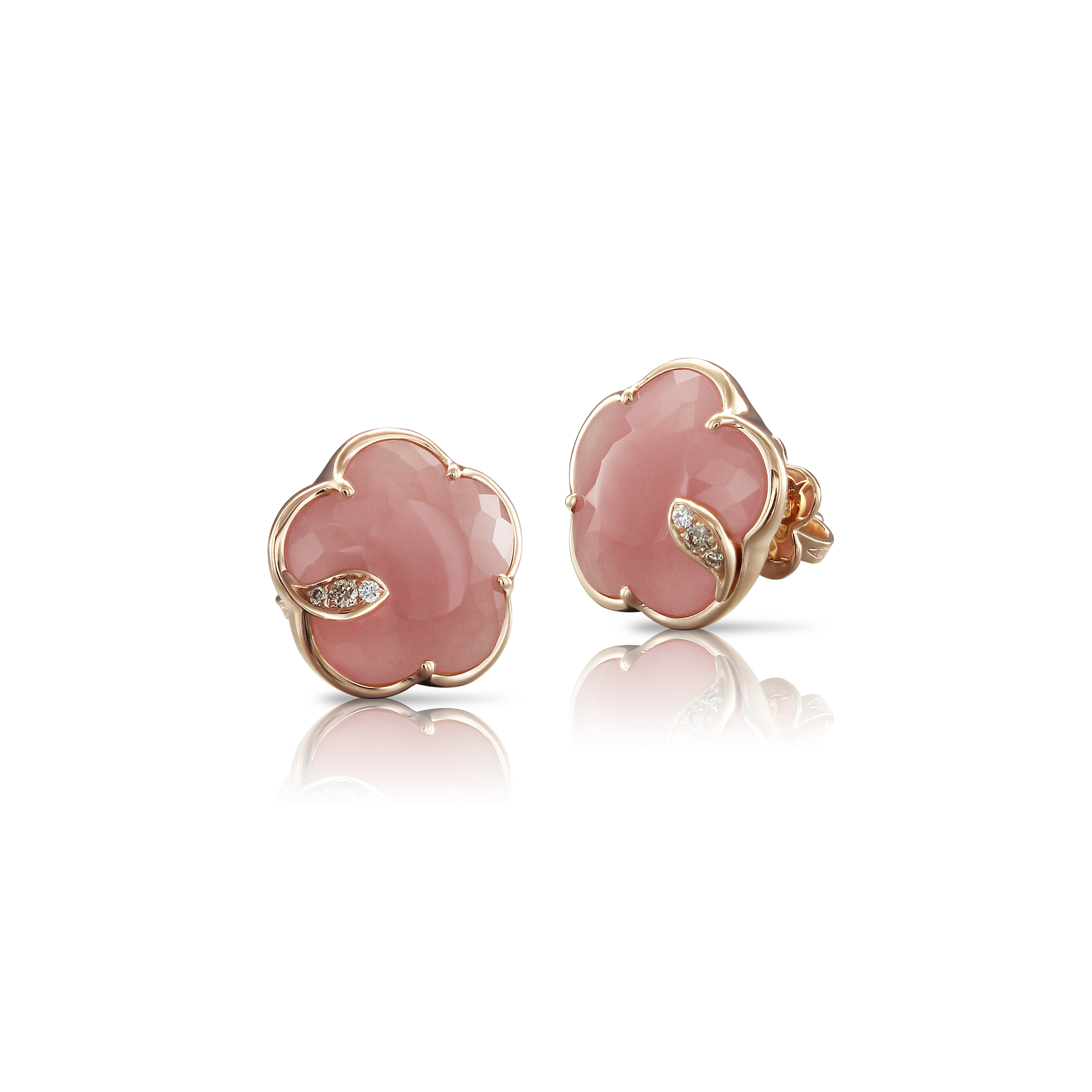 18k Rose Gold Petit Joli Earrings with Pink Chalcedony, White and Champagne Diamonds