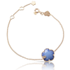18k Rose Gold Petit Joli Bracelet with White Agate and Lapis Lazuli Doublet, White and Champagne Diamonds