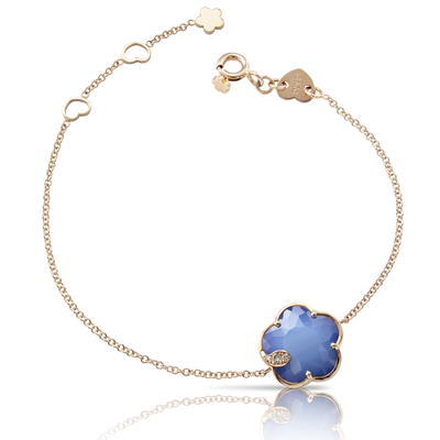 NEW 18k Rose Gold Petit Joli Bracelet with White Agate and Lapis Lazuli Doublet, White and Champagne Diamonds