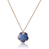 NEW 18k Rose Gold Petit Joli Necklace with White Agate and Lapis Lazuli Doublet, White and Champagne Diamonds