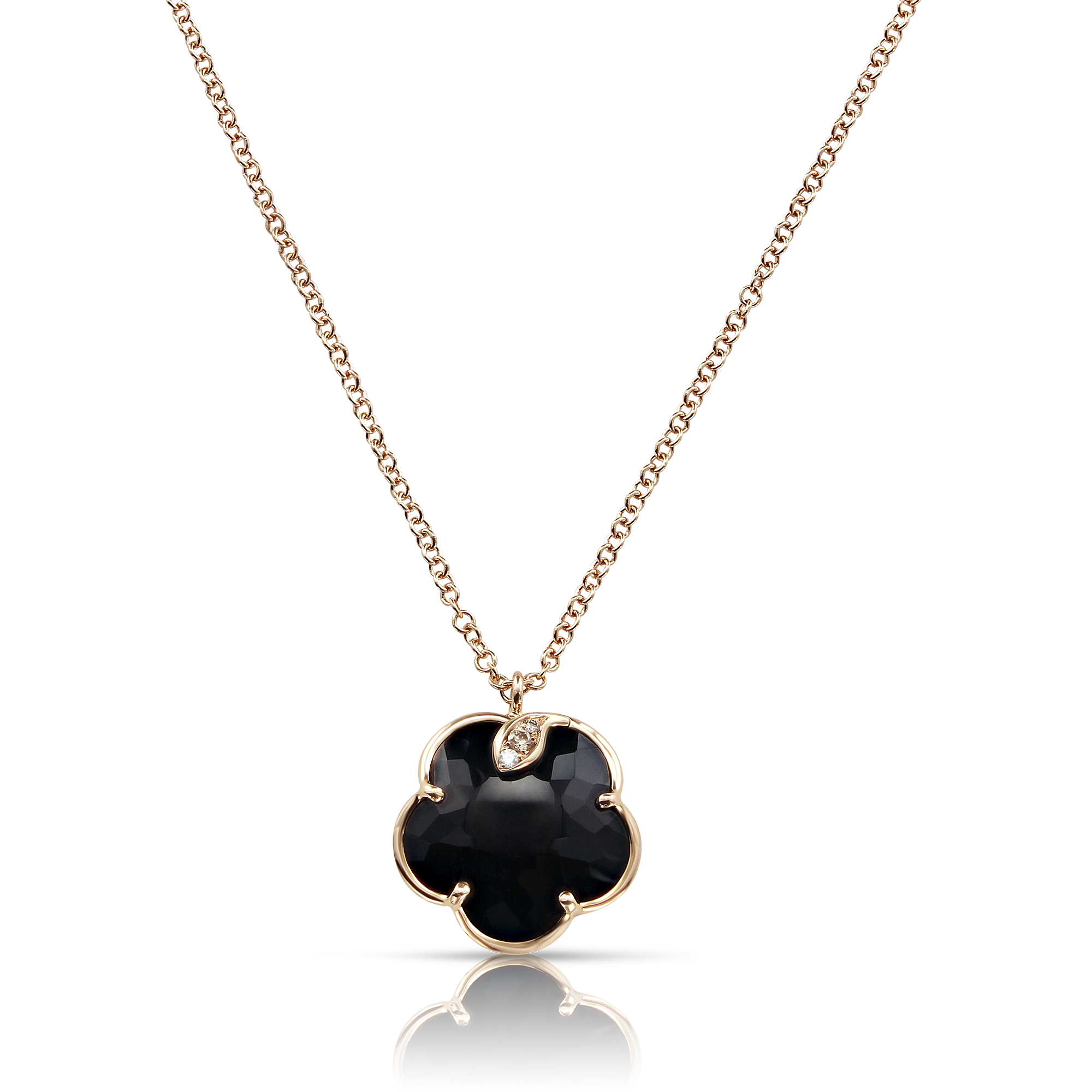 NEW 18k Rose Gold Petit Joli Necklace with Onyx, White and Champagne Diamonds