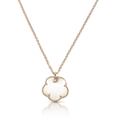 Rose gold necklace with white agate and diamonds