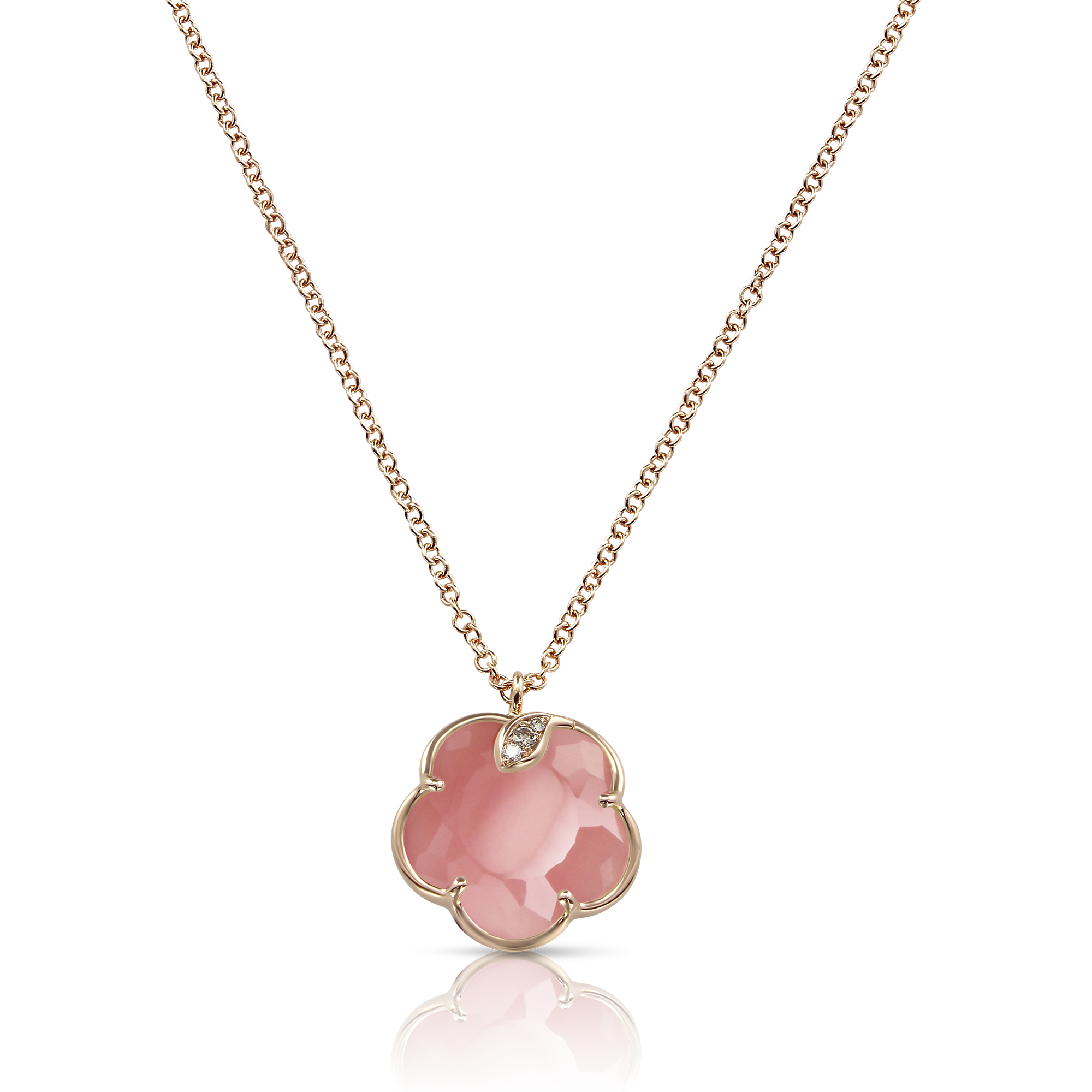 NEW 18k Rose Gold Petit Joli Necklace with Pink Chalcedony, White and Champagne Diamonds