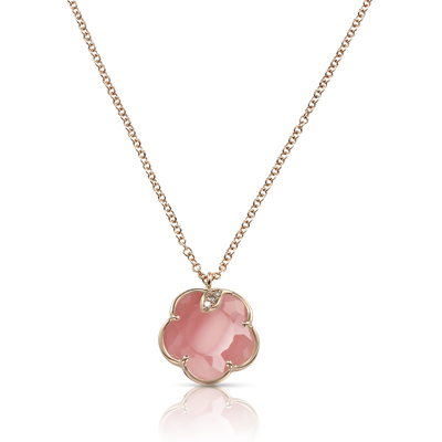 18k Rose Gold Petit Joli Necklace with Pink Chalcedony, White and Champagne Diamonds