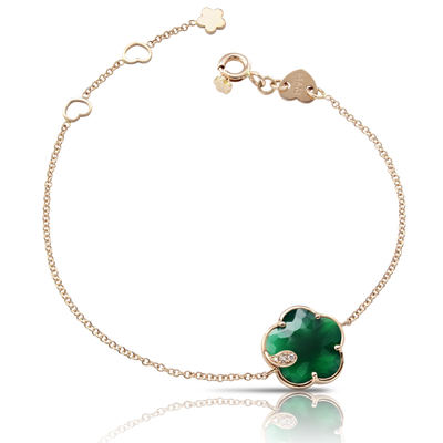 Rose gold bracelet with green agate and diamonds