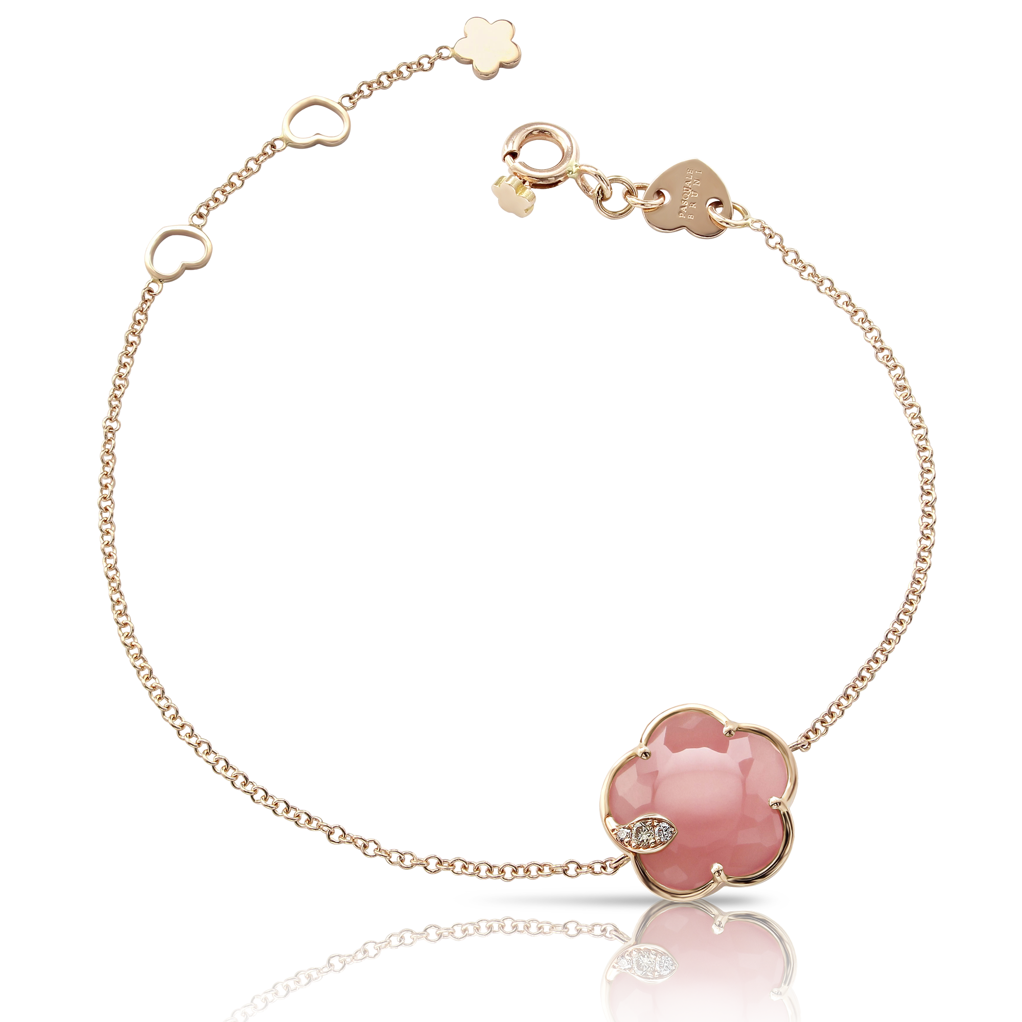 NEW 18k Rose Gold Petit Joli Bracelet with Pink Chalcedony, White and Champagne Diamonds