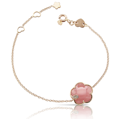 18k Rose Gold Petit Joli Bracelet with Pink Chalcedony, White and Champagne Diamonds