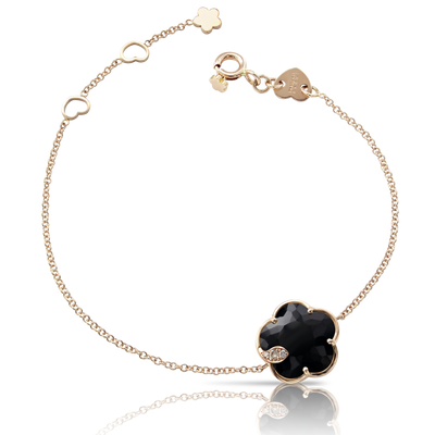 NEW 18k Rose Gold Petit Joli Bracelet with Onyx, White and Champagne Diamonds