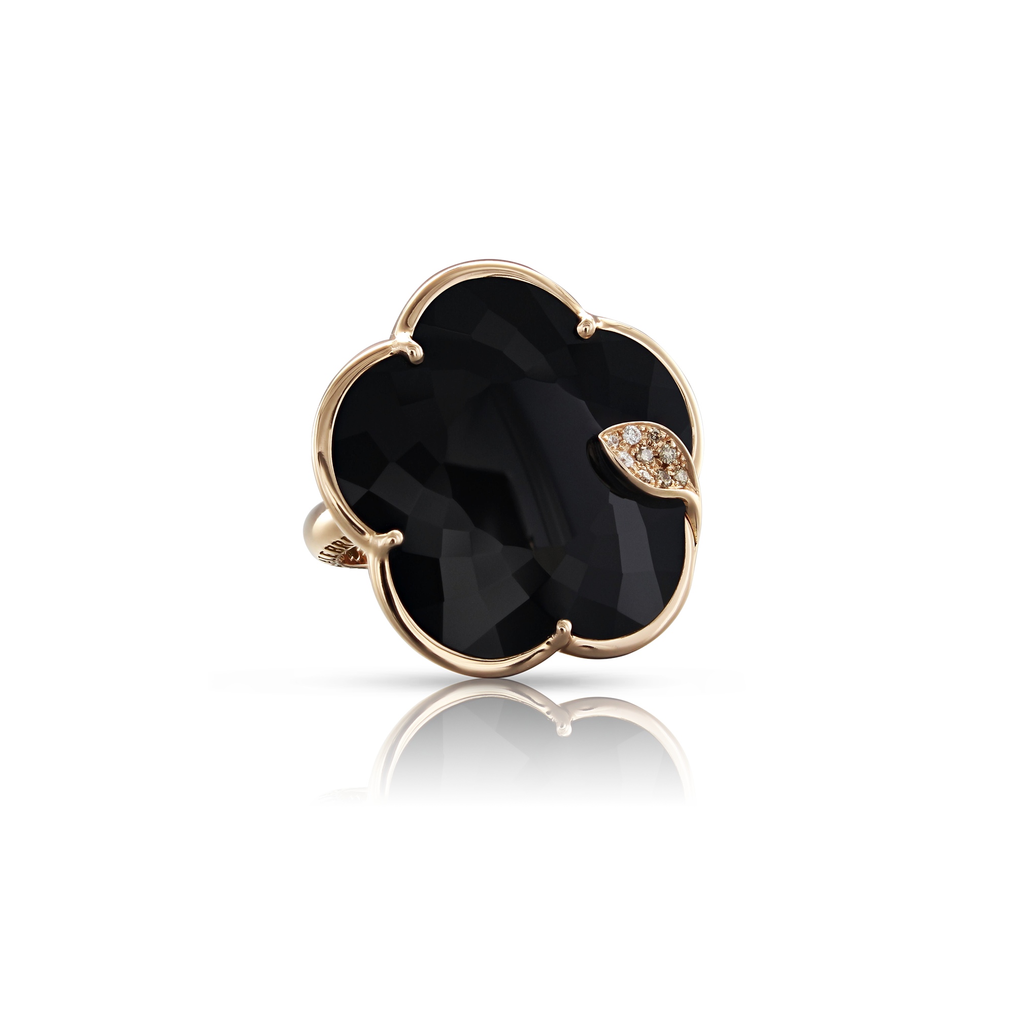 NEW 18k Rose Gold Ton Joli Ring with Onyx, White and Champagne Diamonds