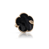 18k Rose Gold Ton Joli Ring with Onyx, White and Champagne Diamonds