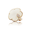 NEW 18k Rose Gold Ton Joli Ring with White Agate, Mother of Pearl, White and Champagne Diamonds