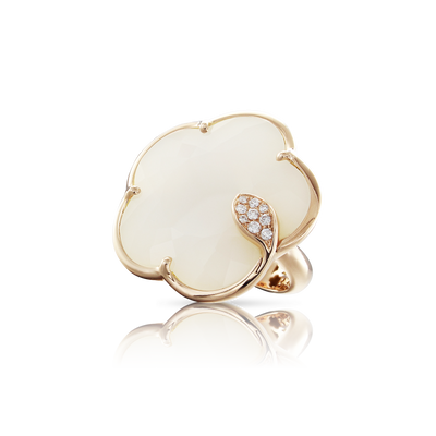 18k Rose Gold Ton Joli Ring with White Agate, Mother of Pearl, White and Champagne Diamonds