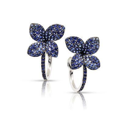 NEW White gold earrings with blue sapphires