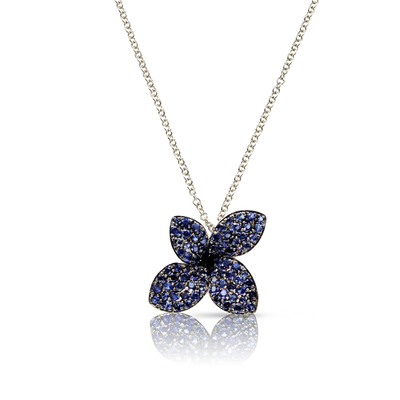 NEW 18k White Gold Petit Garden Necklace with Blue Sapphires