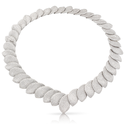 NEW 18k White Gold Aleluia' Necklace with Diamonds