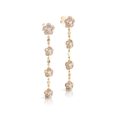 NEW 18k Rose Gold Figlia dei Fiori Earrings with White and Champagne Diamonds