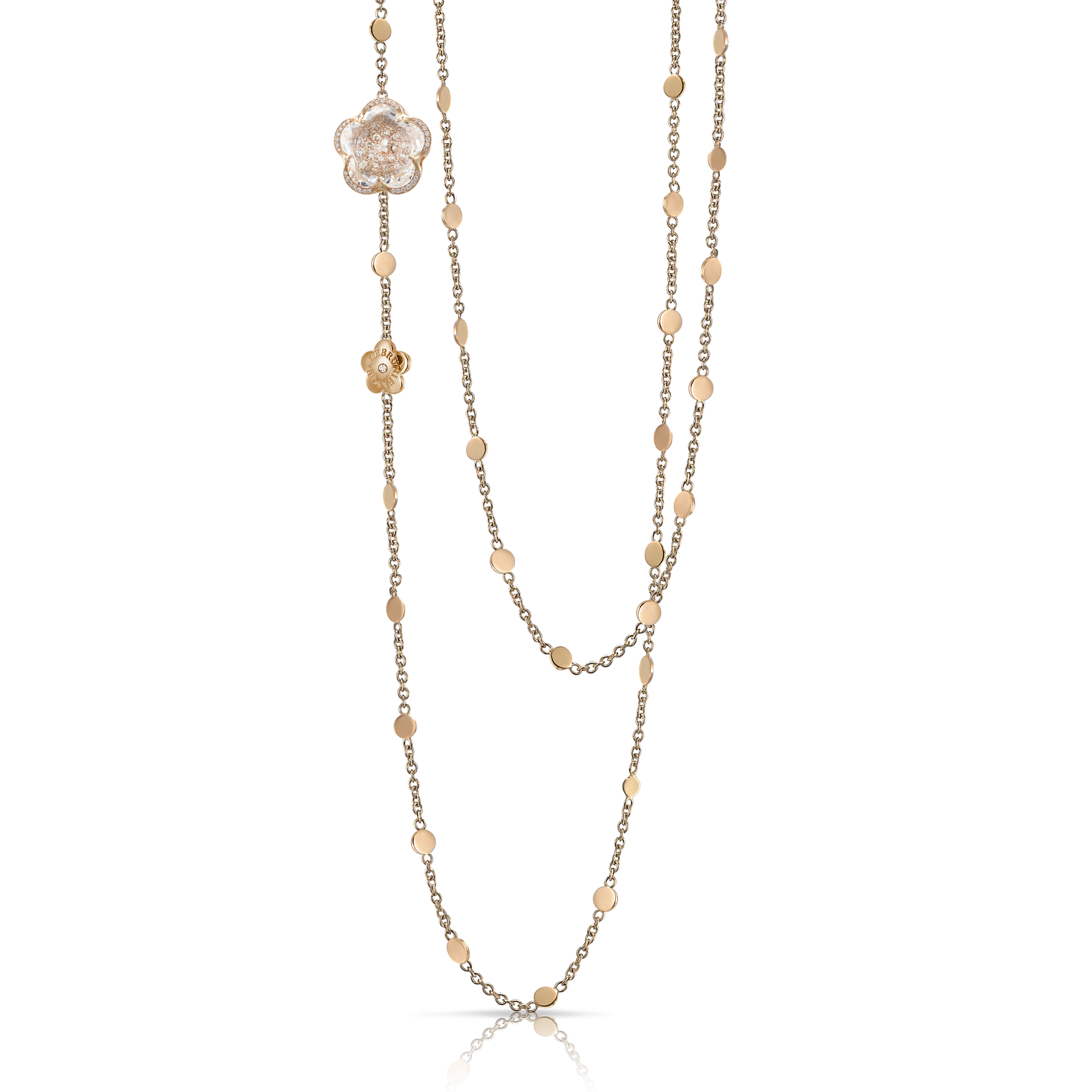NEW 18k Rose Gold Bon Ton Necklace with Rock Crystal and Diamonds